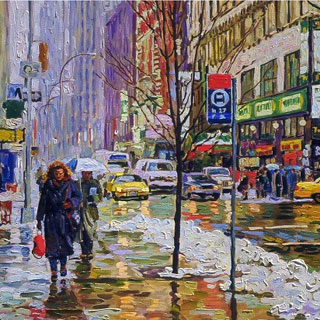 Manhattan Rainy Day, Snow, Pedestrians Painting