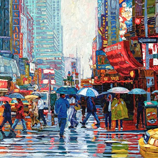 Manhattan Crosswalk New York Oil Painting