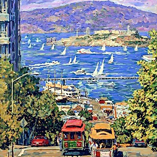 Cable Cars, Sailboats, Pier, View of Alcatraz