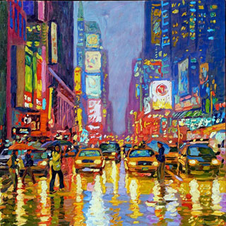 Sleepless City, Rain, Lights, Bright Colors